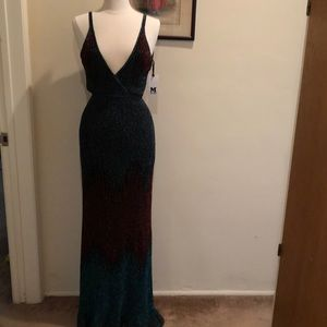 Missoni ombre teal/copper/navy gown sz 38